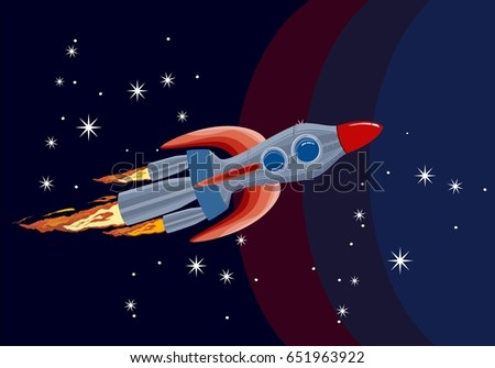 Spaceship flying throw space, vector illustration