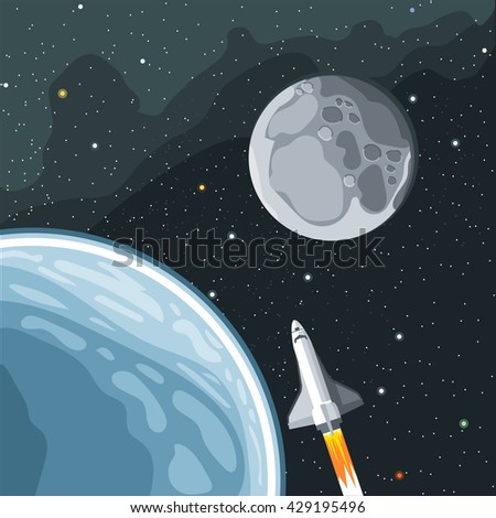 Spaceship mission to moon. Eart and moon view in space. Digital vector image. - stock vector