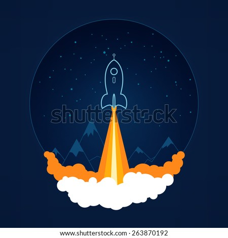 Spaceship on a background of the starry sky and the mountains, spacecraft flying in space, launch space rocket ,vector illustration - stock vector