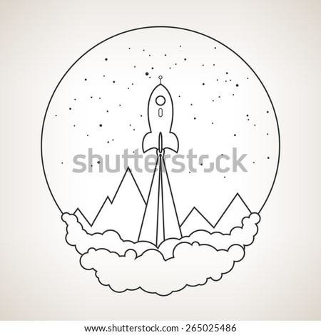 Spaceship on a background of the starry sky and the mountains, spacecraft flying in space, launch space rocket ,black and white vector illustration - stock vector