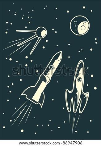 spaceships racing - stock vector