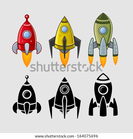Spaceships set color and black - stock vector