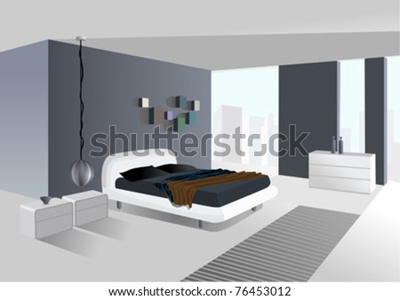spacious room with city view - stock vector