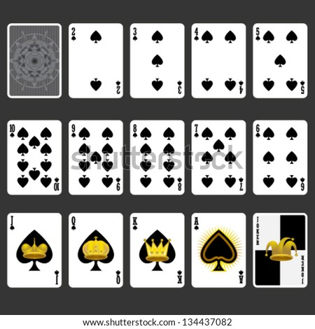 Spade Suit Playing Cards Full Set - stock vector