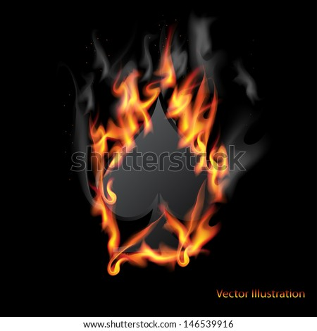 Spades Card in Fire - stock vector
