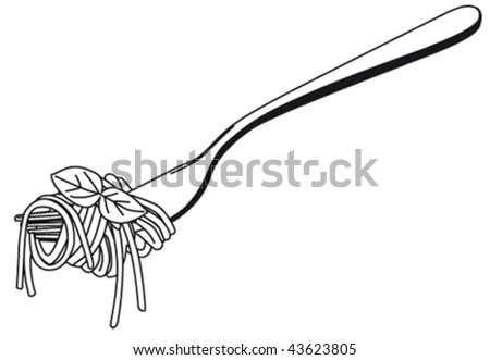 spaghetti on a fork - stock vector
