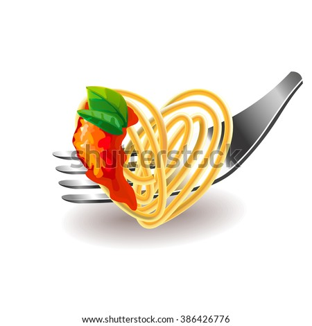 Spaghetti on fork isolated photo-realistic vector illustration - stock vector