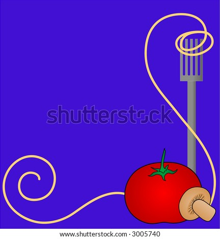 Spaghetti swirled around the tines of a fork with a  tomato and mushroom. Background illustration. - stock vector