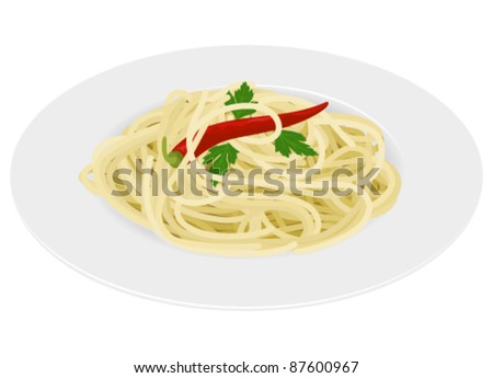 Spaghetti with chili and parsley on white background
