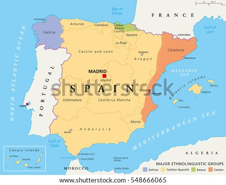 Spain Autonomous Communities Map Administrative Divisions Stock