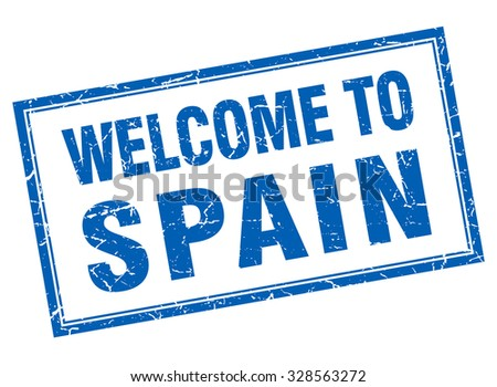 Spain blue square grunge welcome isolated stamp