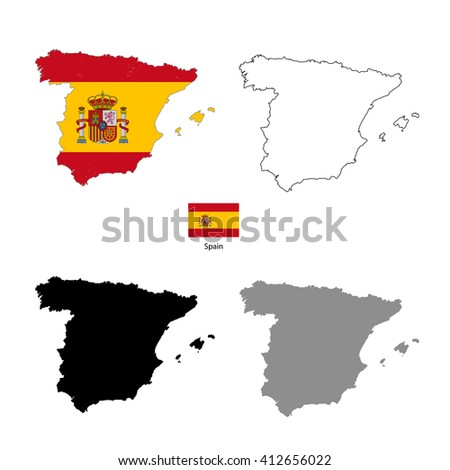 Spain country black silhouette and with flag on background, isolated on white - stock vector