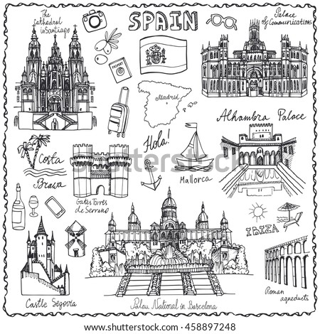 europe landmarks coloring pages | Spain Doodle Landmarksvector Famous Architectural ...