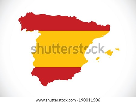 spain flag and map Country shape idea design - stock vector