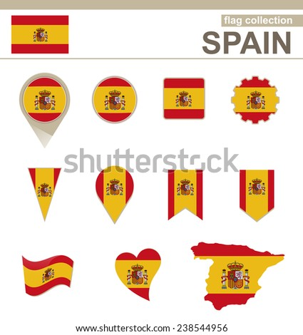 Spain Flag Collection, 12 versions - stock vector