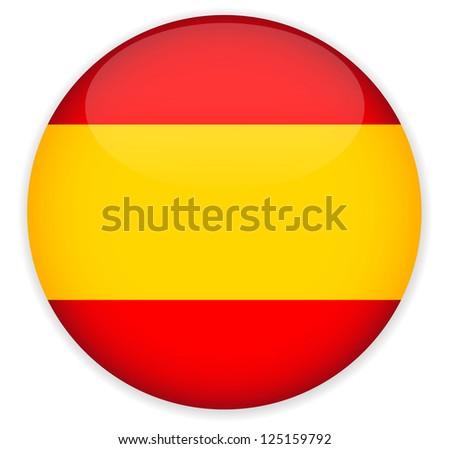 Spain Flag Glossy Button,Vector. - stock vector