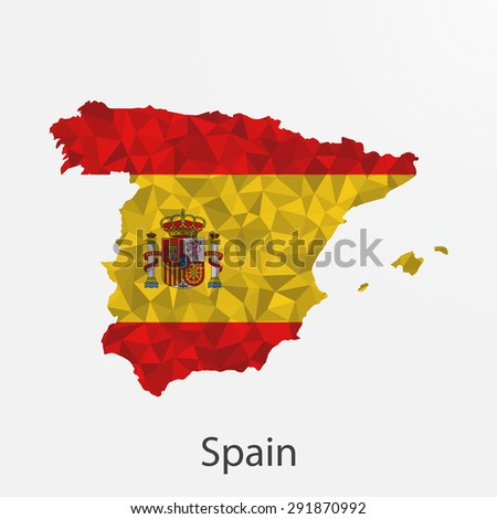 Spain flag map in geometric,mosaic polygonal style.Abstract tessellation,background. Vector illustration EPS10 - stock vector