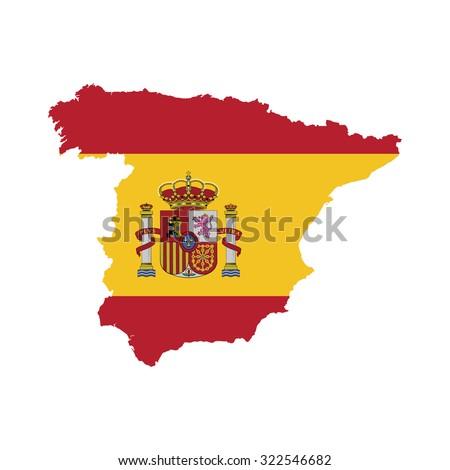 Spain flag on map - stock vector