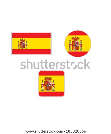 Spain Flag Set - Vector - stock vector