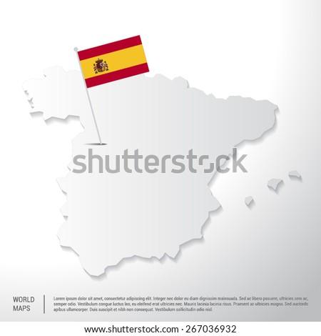 Spain flag showing on world map. vector illustration - stock vector