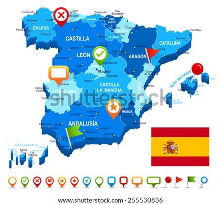 Spain map 3D, flag and navigation icons - illustration Image contains next layers: - land contours - country and land names - city names - water object names - flag - navigation icons - stock vector