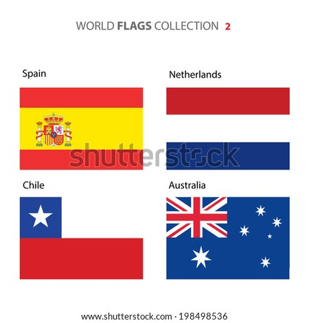 Spain, Netherlands, Chile, and Australia Flags (vector Art)