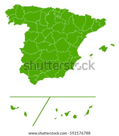 Spain Provinces Green Map Stock Vector 592176788 Shutterstock