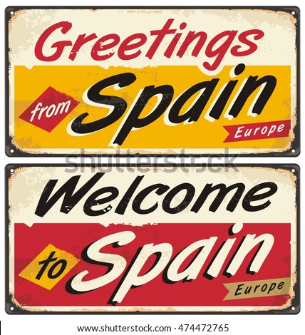 Spain retro tin sign concept greetings stock vector hd royalty free spain retro tin sign concept greetings from spain vintage metal template travel souvenirs print m4hsunfo