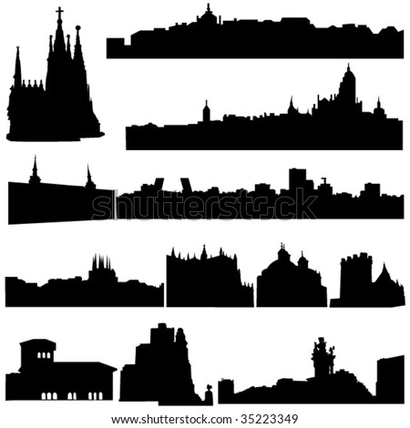 Spain's famous historical buildings and modern architecture. - stock vector