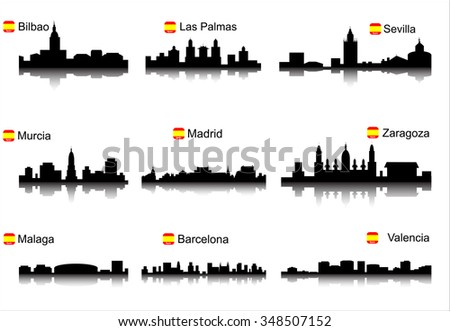 Spain. Silhouettes of cities. Set for you design - stock vector