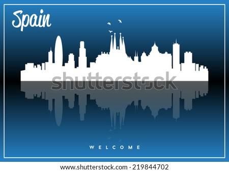 Spain skyline silhouette vector design on parliament blue background. - stock vector