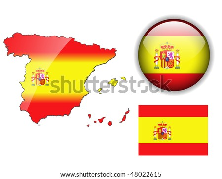Spain, Spanish flag, map and glossy button, vector illustration set. - stock vector