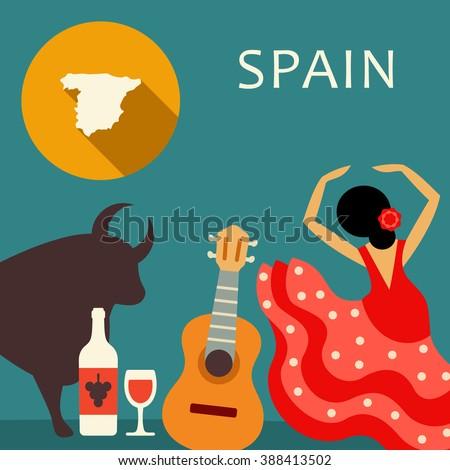 Spain travel illustration - stock vector