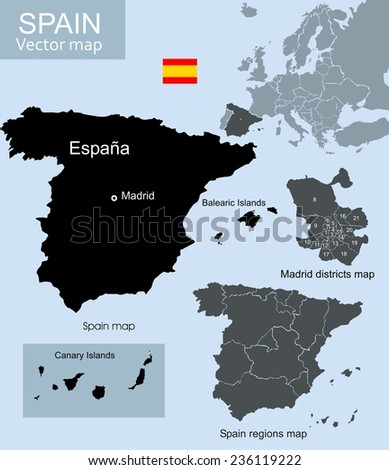 Spain vector map, regions map and Madrid districts map  - stock vector