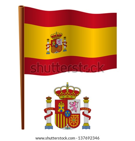 spain wavy flag and coat of arm against white background, vector art illustration, image contains transparency - stock vector