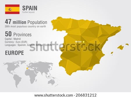 Spain world map with a pixel diamond texture. World Geography. - stock vector