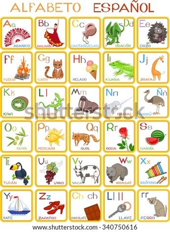 Spanish Alphabet Stock Illustration 342288866 - Shutterstock