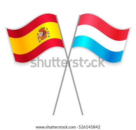 Spanish and Luxembourg crossed flags. Spain combined with Luxembourg isolated on white. Language learning, international business or travel concept.