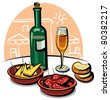 spanish appetizers (cheese, ham) and wine - stock vector