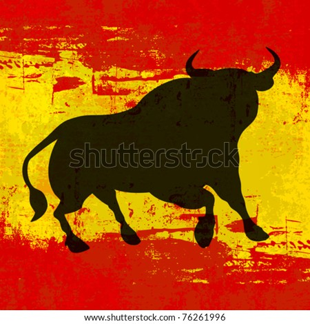 Spanish Background, Vector template with a Bull over a grunged Flag of Spain - stock vector