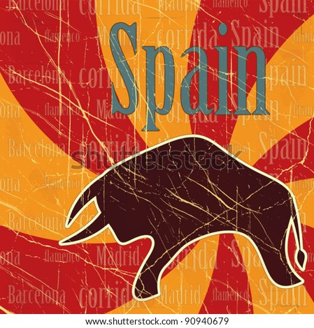 Spanish bull on grungy background - postcard - stock vector