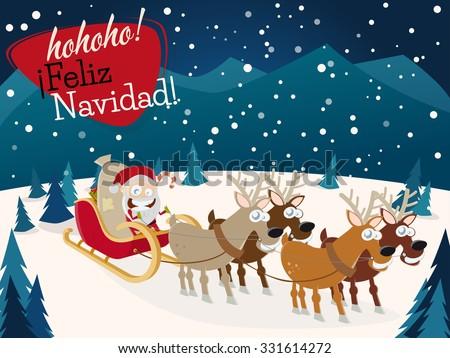 spanish christmas greetings feliz navidad with santa claus and reindeers - stock vector
