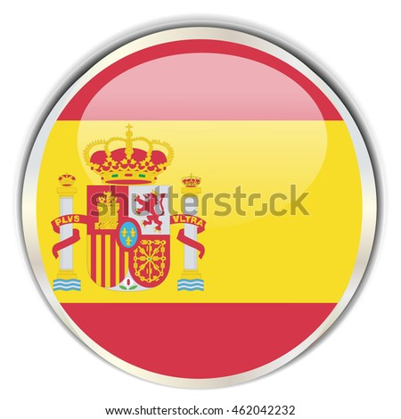 Spanish Flag. Glossy button with glare in bright round frame.