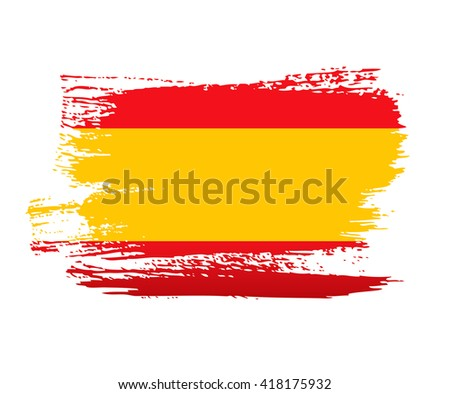 Spanish flag made in brush stroke background