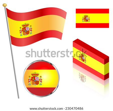 Spanish flag on a pole, badge and isometric designs vector illustration.  - stock vector