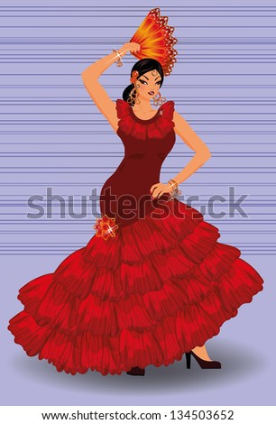 Spanish flamenco dancer girl with fan, vector illustration