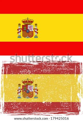 Spanish grunge flag. Vector illustration. - stock vector