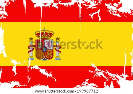 Spanish grunge flag. Vector illustration. Grunge effect can be cleaned easily. - stock vector