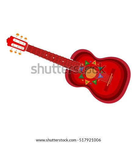 Spanish Guitar With Mexican Aztec Ornaments Vector Illustration Isolated On White Background Hand