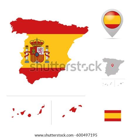 Spanish Mainland Balearic Islands Canary Islands Stock Vector